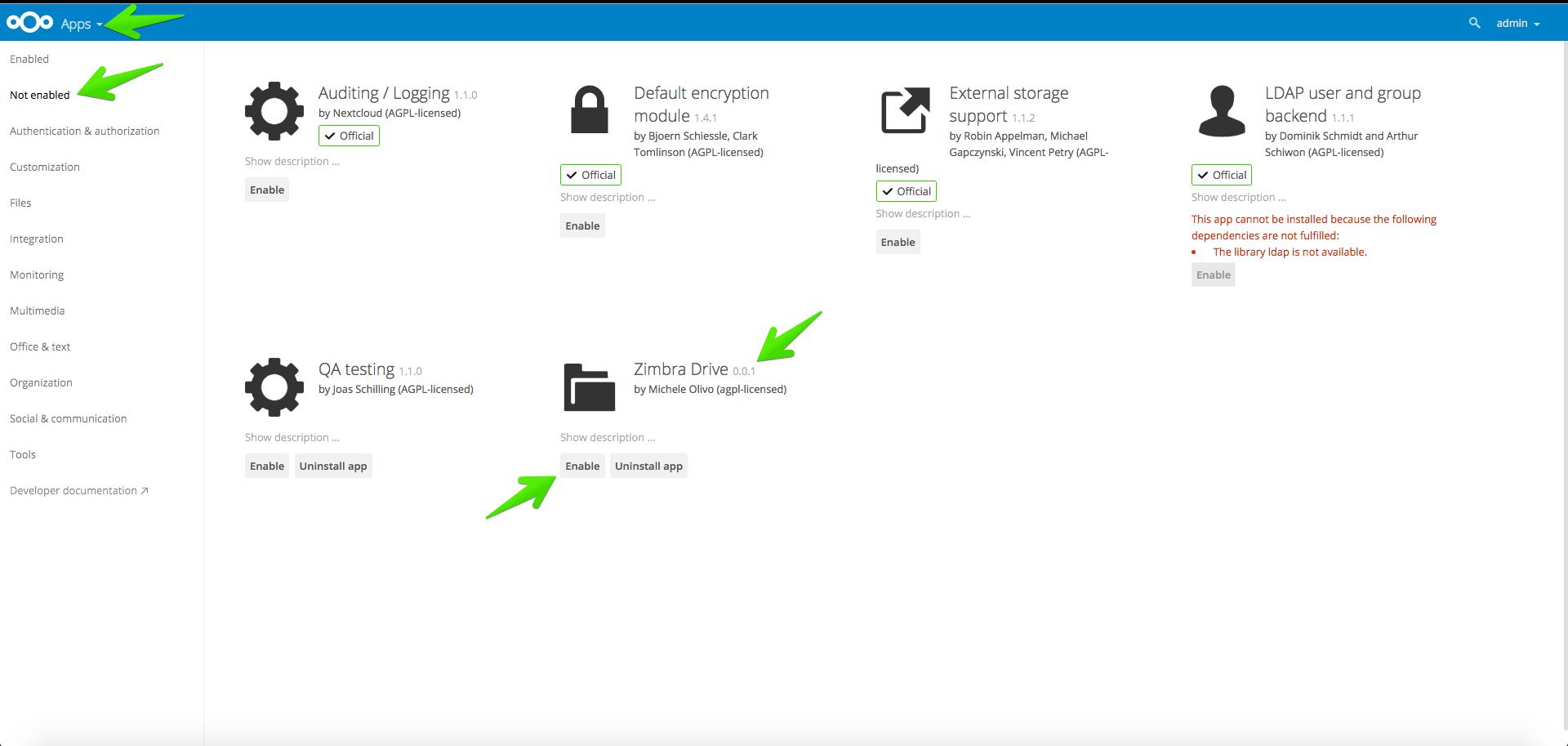 Zimbra: Configuración de Zimbra Drive (ownCloud/nextCloud) - El Blog