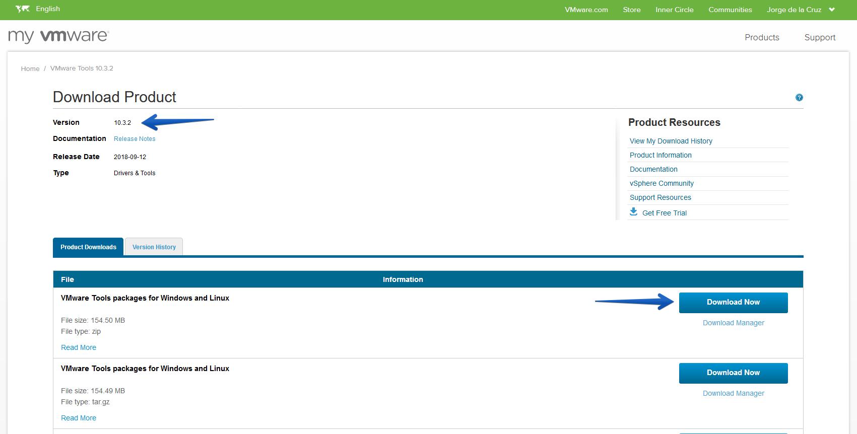 VMware: Descargar e instalar las nuevas VMware Tools 10 3 2