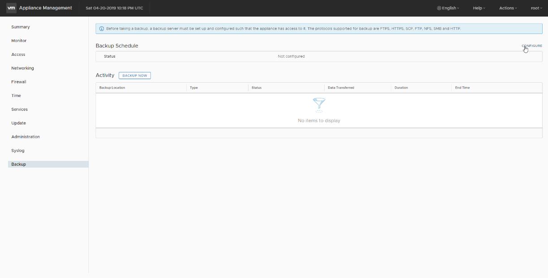 VMware: Programación del Backup de vCenter Server Appliance